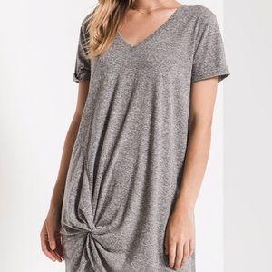 Z Supply Gray Side Knot T-Shirt Dress